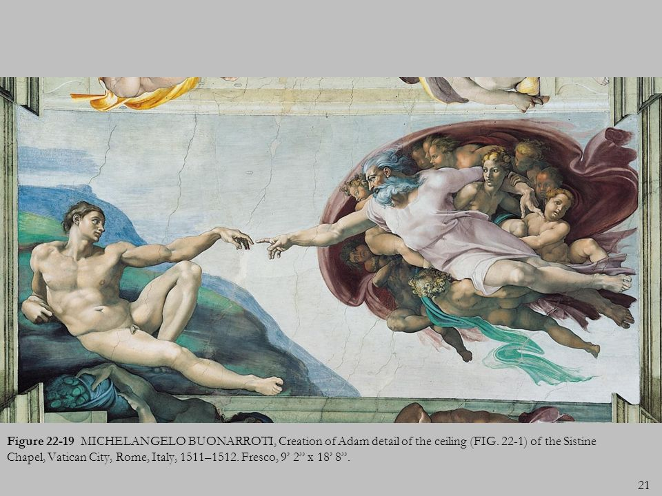 Figure 22-19 MICHELANGELO BUONARROTI, Creation of Adam detail of the ceiling (FIG.