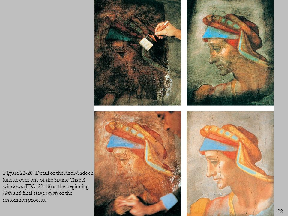 Figure 22-20 Detail of the Azor-Sadoch lunette over one of the Sistine Chapel windows (FIG.