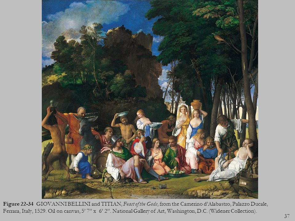 Figure 22-34 GIOVANNI BELLINI and TITIAN, Feast of the Gods, from the Camerino d'Alabastro, Palazzo Ducale, Ferrara, Italy, 1529.