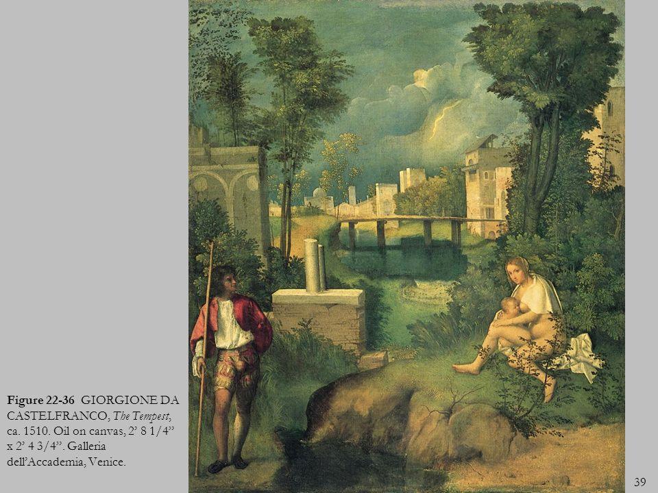 Figure 22-36 GIORGIONE DA CASTELFRANCO, The Tempest, ca. 1510