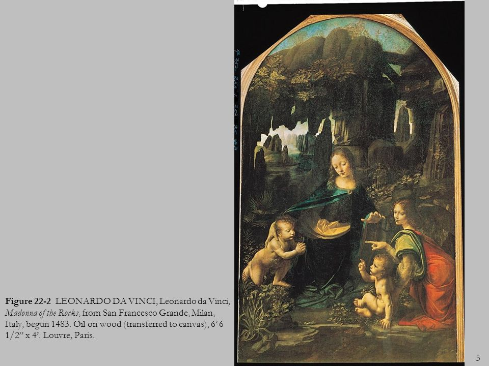 Figure 22-2 LEONARDO DA VINCI, Leonardo da Vinci, Madonna of the Rocks, from San Francesco Grande, Milan, Italy, begun 1483.
