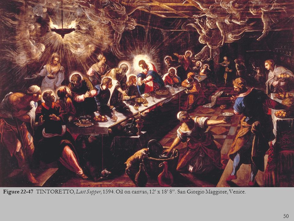 Figure 22-47 TINTORETTO, Last Supper, 1594. Oil on canvas, 12' x 18' 8 .