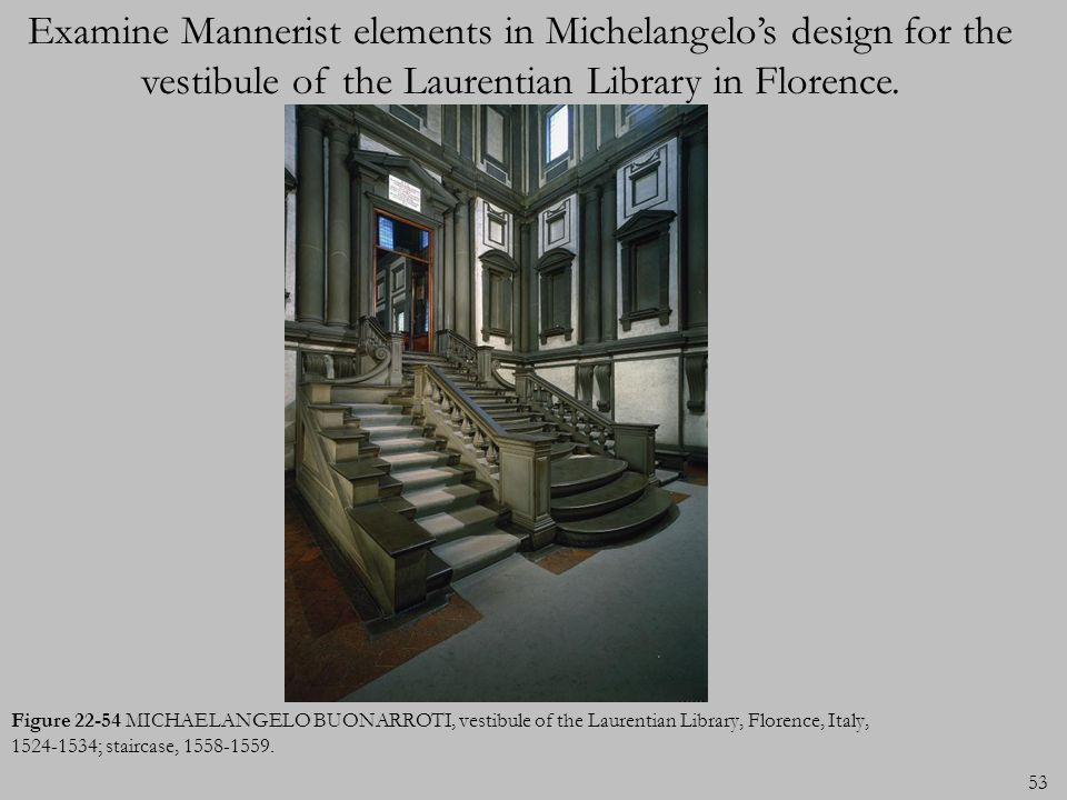 Examine Mannerist elements in Michelangelo's design for the vestibule of the Laurentian Library in Florence.