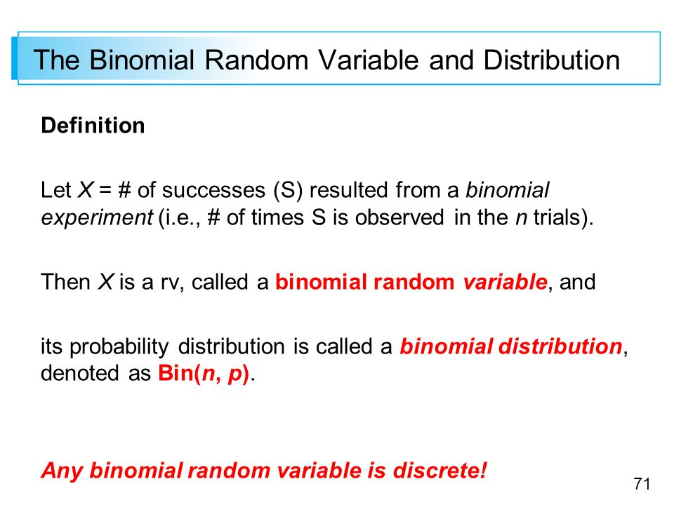 random variable and binomial setting Sal introduces the binomial distribution with an example sal introduces the binomial distribution with an example binomial random variables binomial variables.