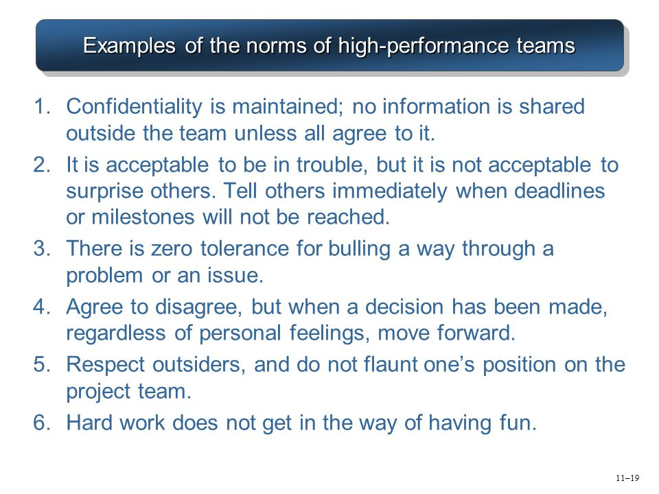 Examples of the norms of high-performance teams