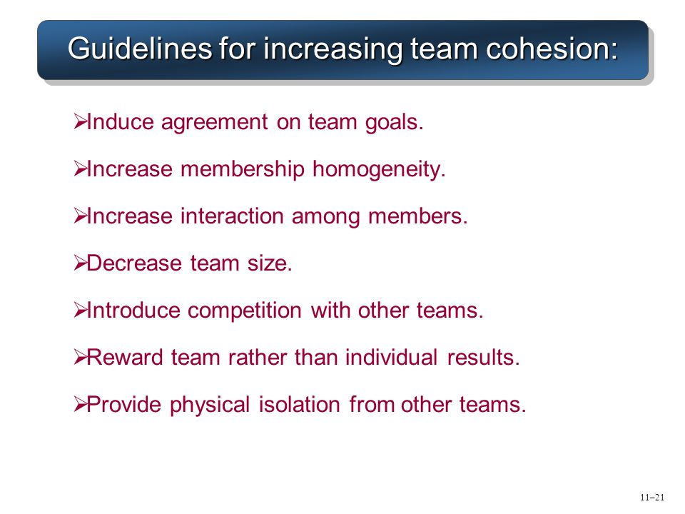 Guidelines for increasing team cohesion:
