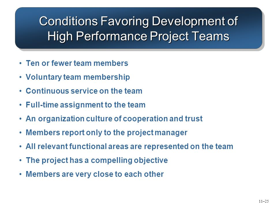 Conditions Favoring Development of High Performance Project Teams