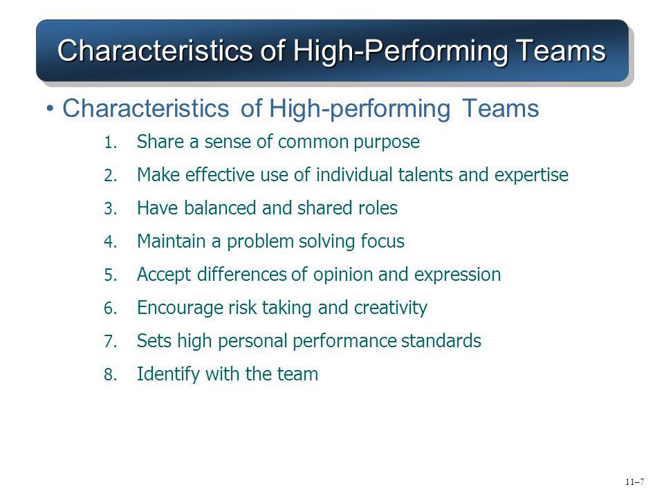 Characteristics of High-Performing Teams