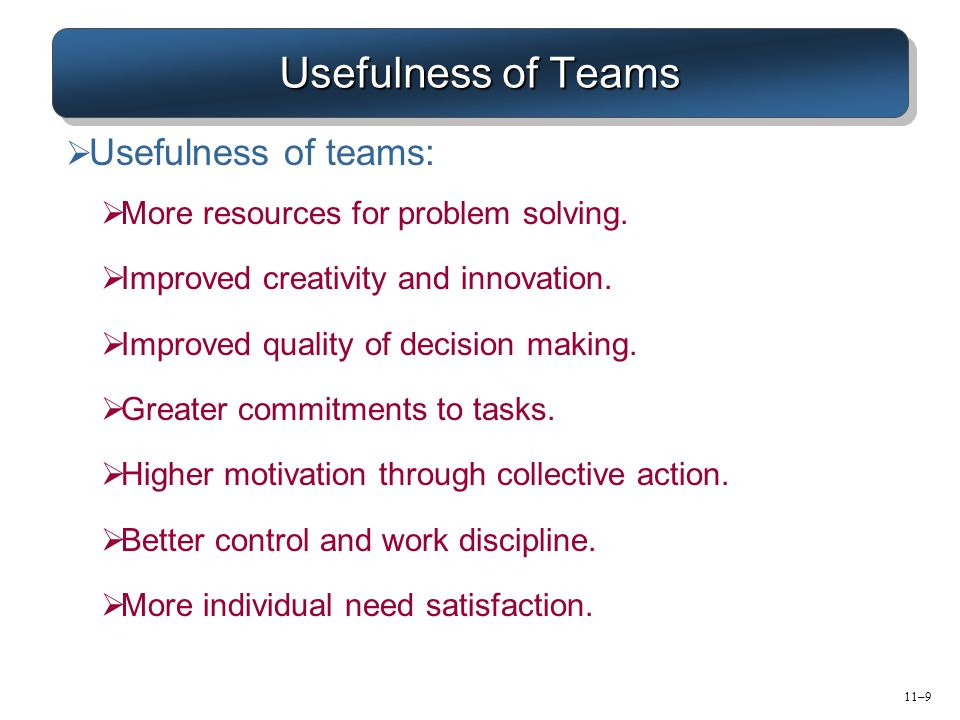 Usefulness of Teams Usefulness of teams: