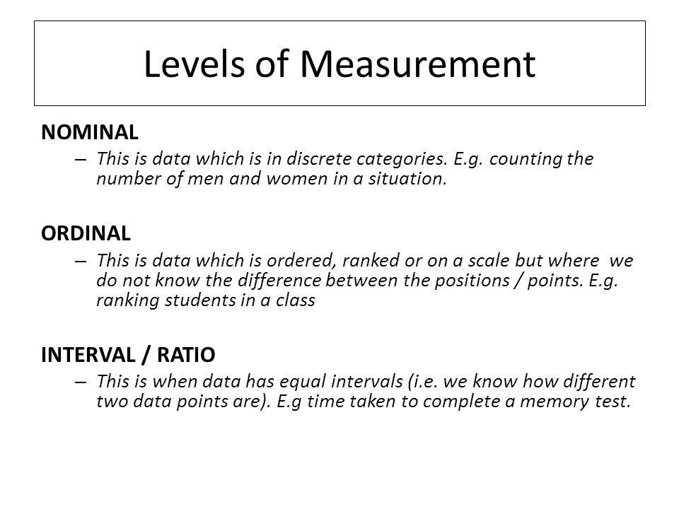 Measurement and nominal b ordinal