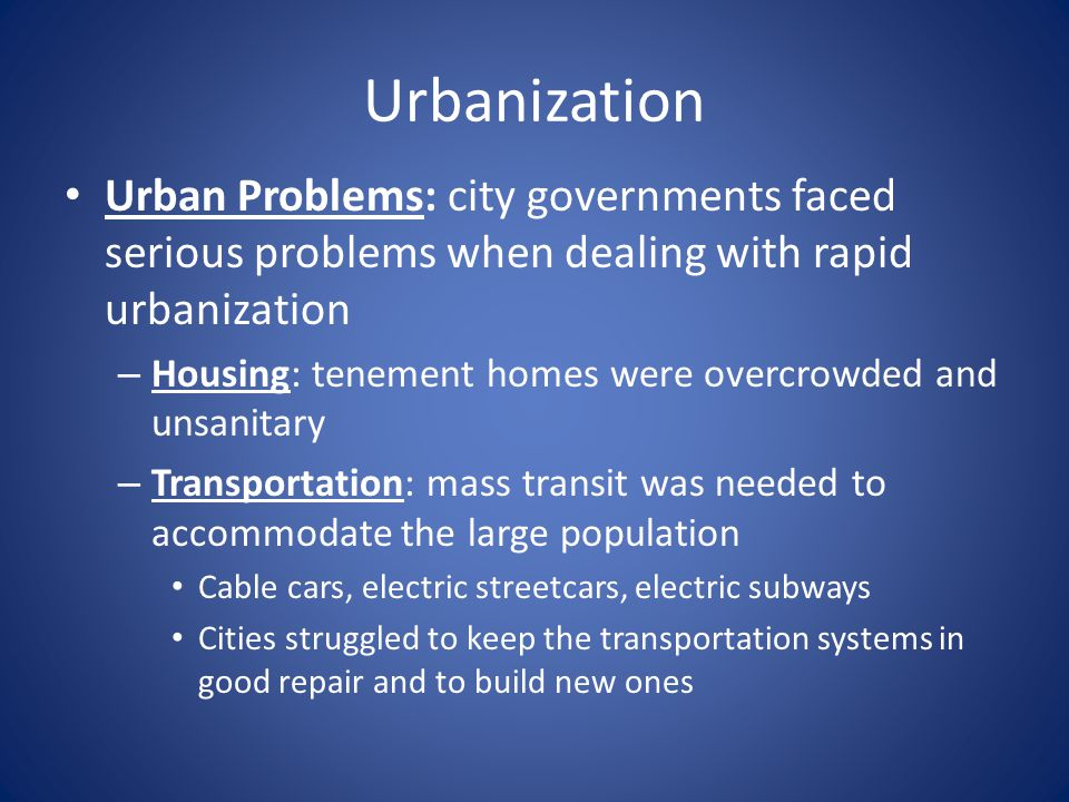 housing problem in urbanization Addressing urban poverty in america must remain a priority  from the us department of housing and urban development, department of transportation, and the environmental protection agency, do.