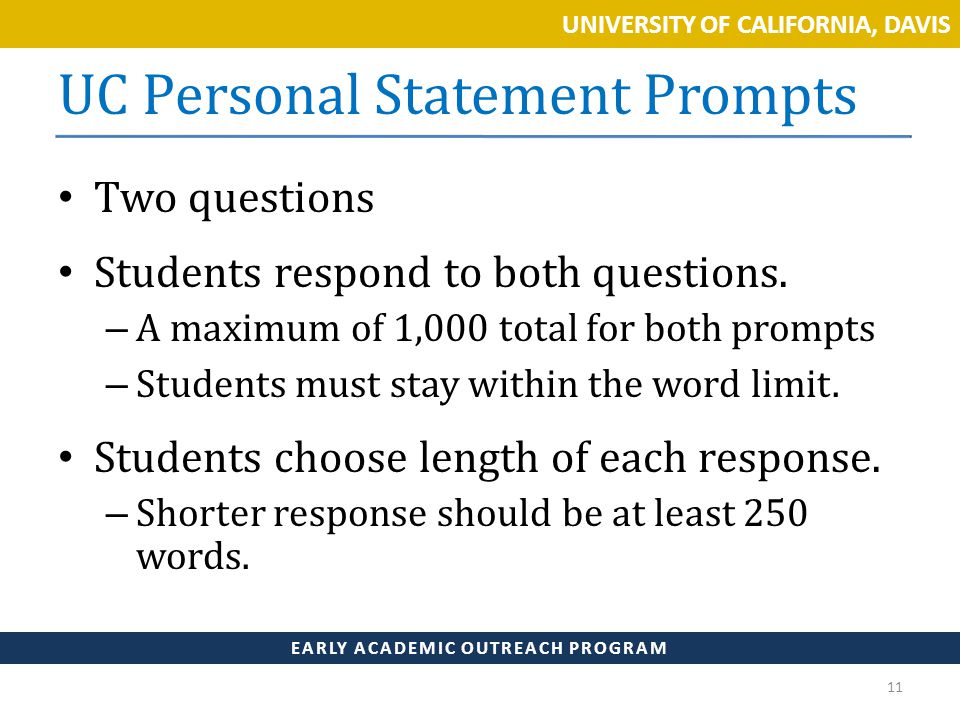 uc personal statement prompt 1 question Tips for writing the uc personal statement prompt #1  personal insight question #1 - college  uc essay example:  tips for writing the uc personal statement.
