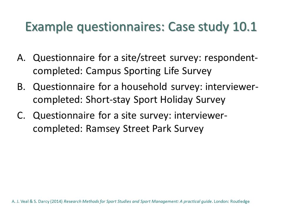 example of a questionnaire survey