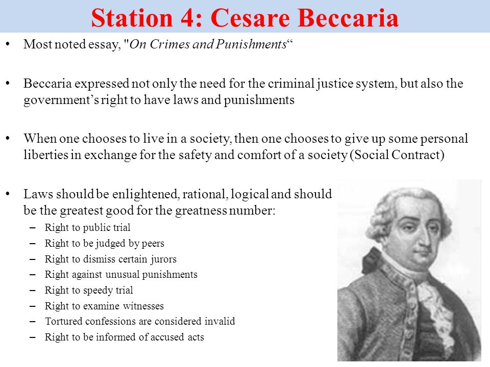 beccaria crime and punishment essay Cesare beccaria & punishment essay this first way he said that the punishment should fit the crime is that the severity of punishment should parallel the severity of harm resulting from the crime this did not mean that if someone was a murderer.