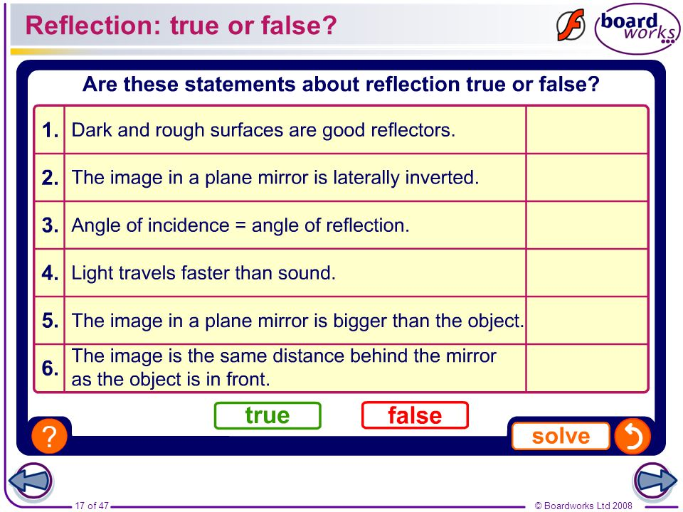 Reflection: true or false