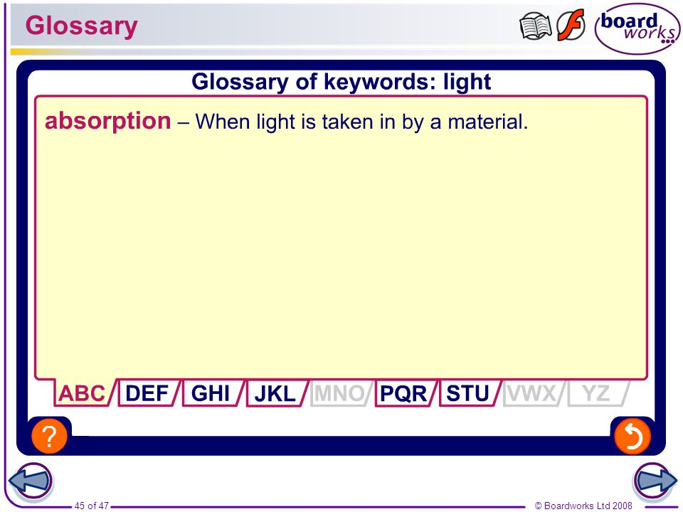 Glossary absorption – When light is taken in by a material.