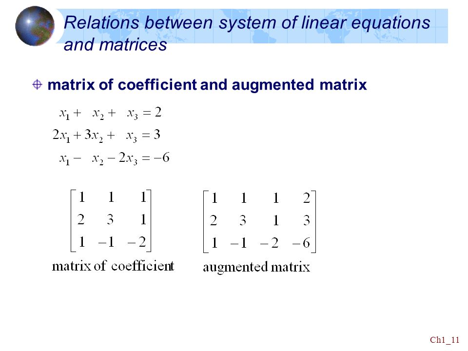 Relations between system of linear equations and matrices