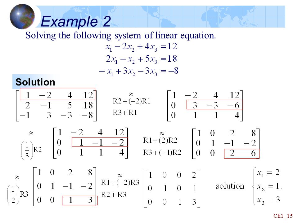 Example 2 Solving the following system of linear equation. Solution