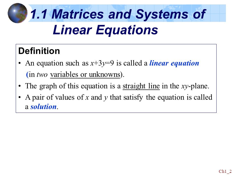 1.1 Matrices and Systems of Linear Equations