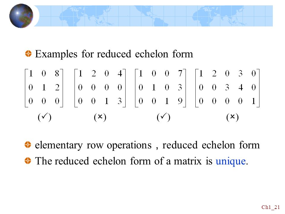 Examples for reduced echelon form