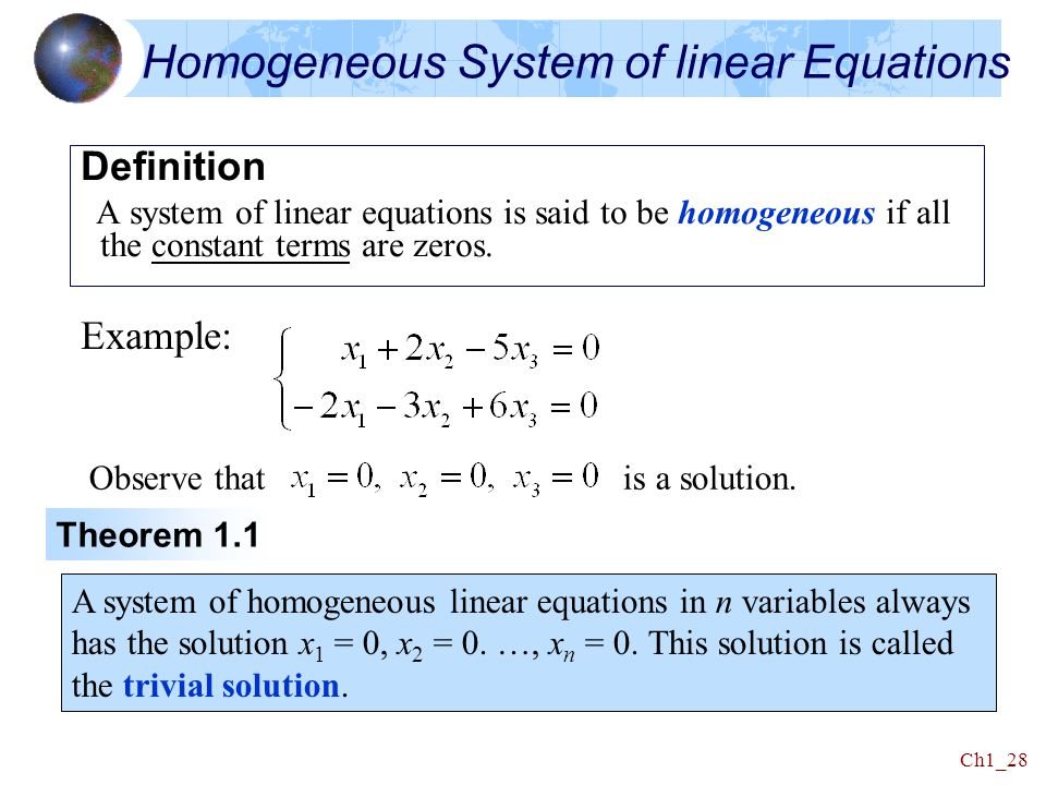 Homogeneous System of linear Equations