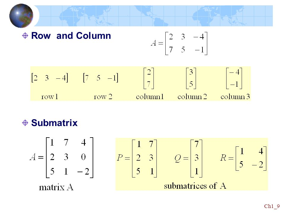 Row and Column Submatrix