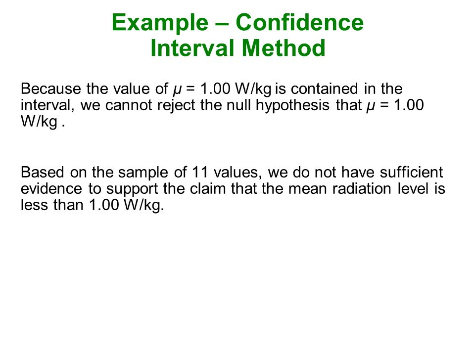 Example – Confidence Interval Method