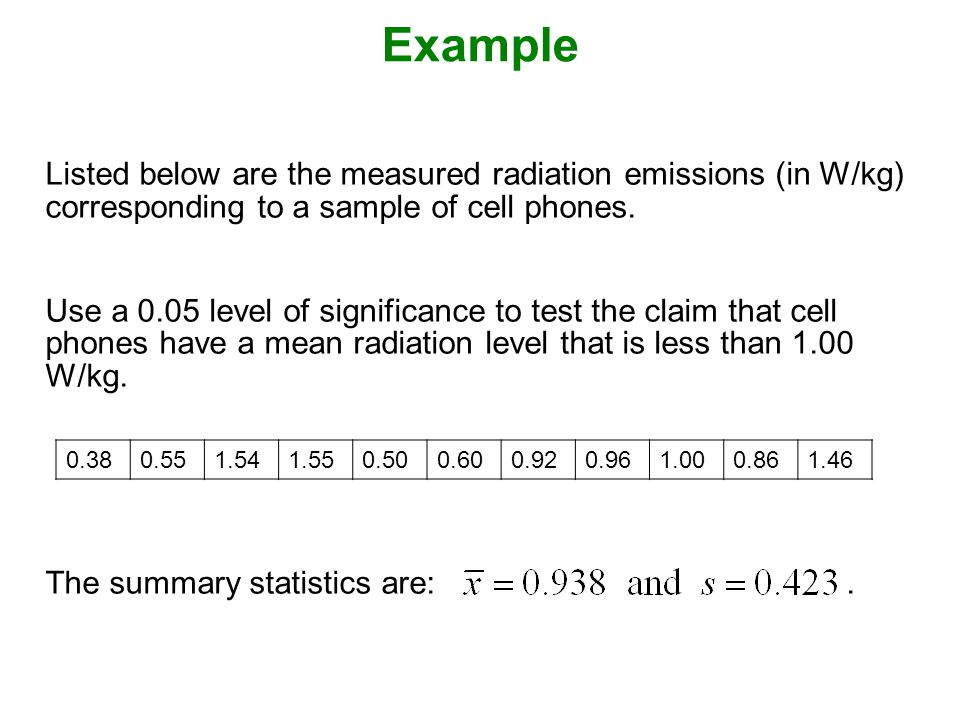 Example Listed below are the measured radiation emissions (in W/kg) corresponding to a sample of cell phones.