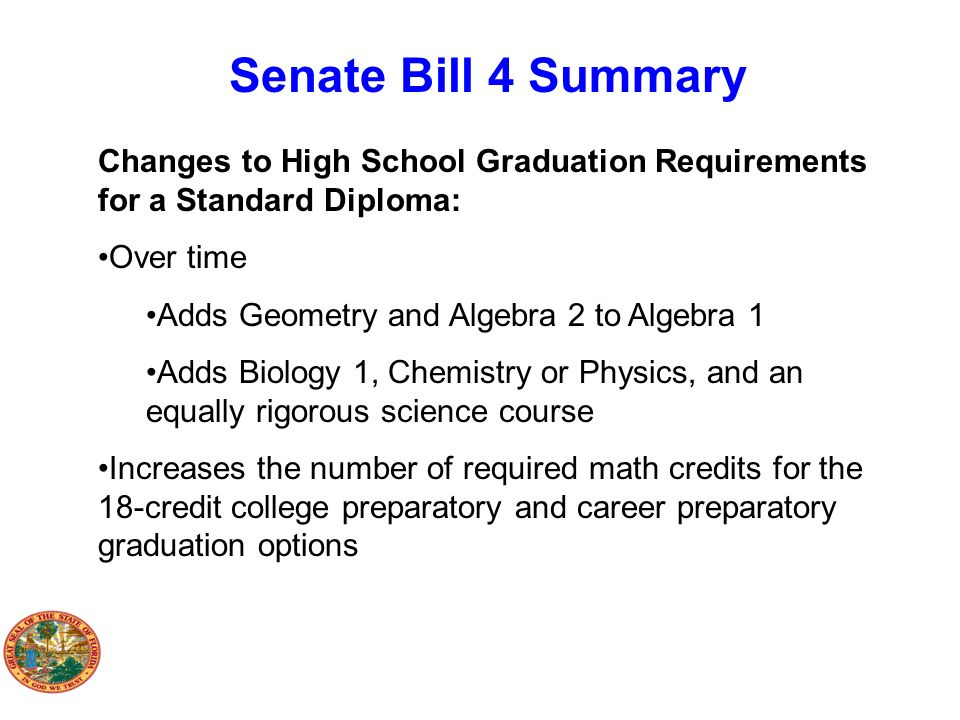 Senate Bill 4 Summary Changes to High School Graduation Requirements for a Standard Diploma: Over time.