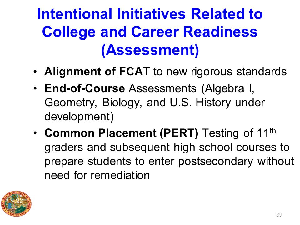 Intentional Initiatives Related to College and Career Readiness (Assessment)