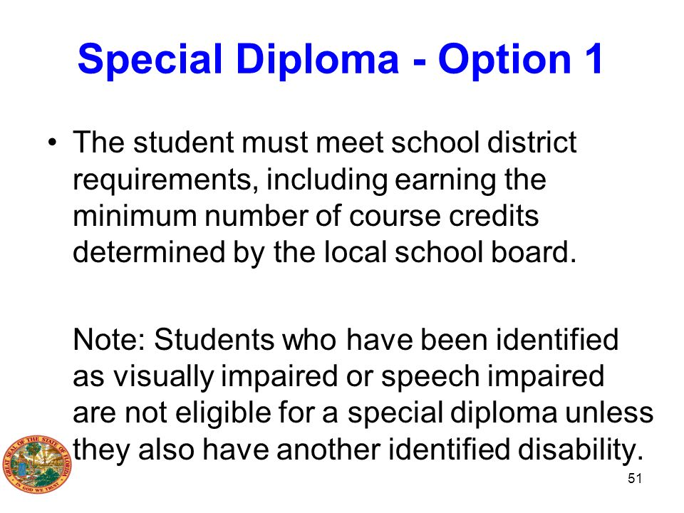 Special Diploma - Option 1