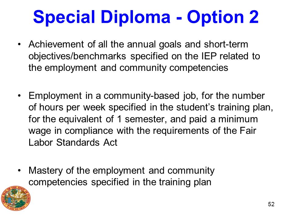 Special Diploma - Option 2