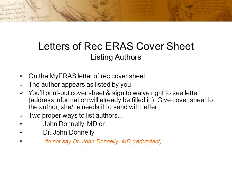 Eras letter cover sheet