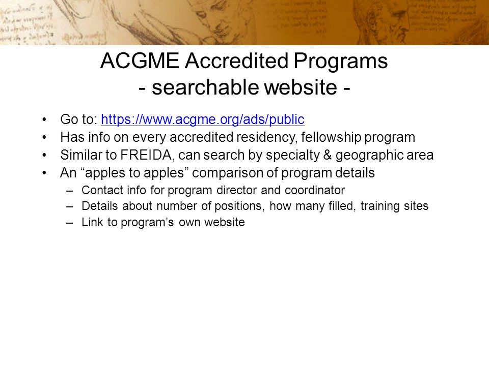 ACGME Residency Programs - Graduate Medical Education