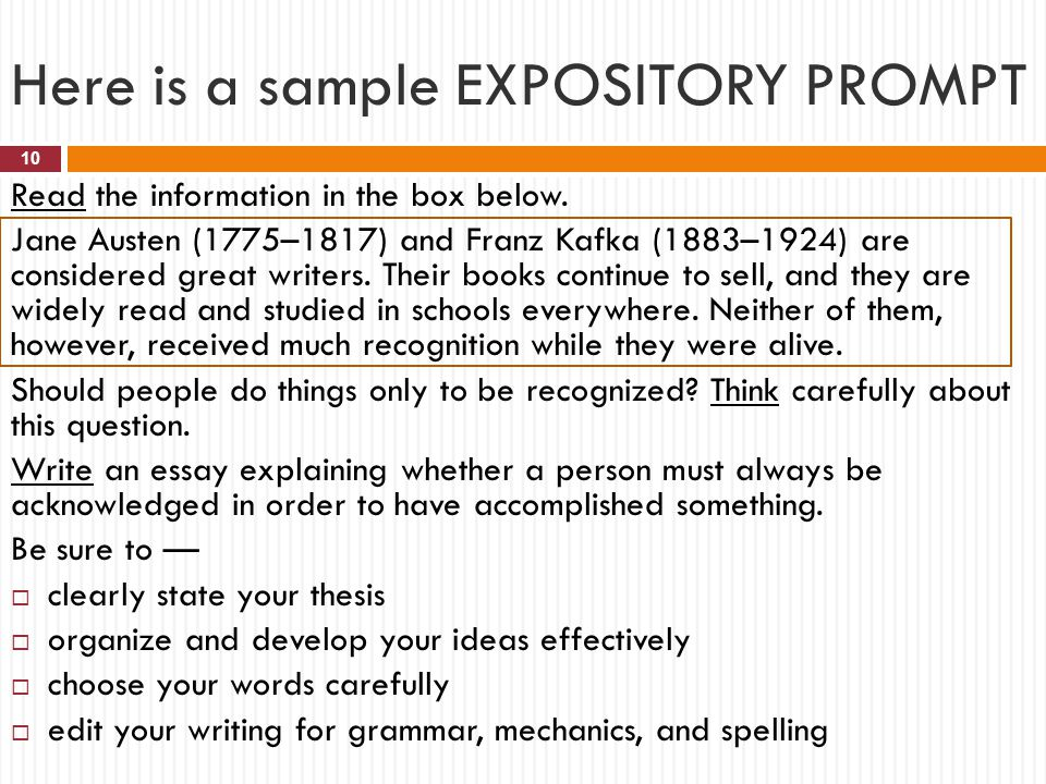 Here is a sample EXPOSITORY PROMPT