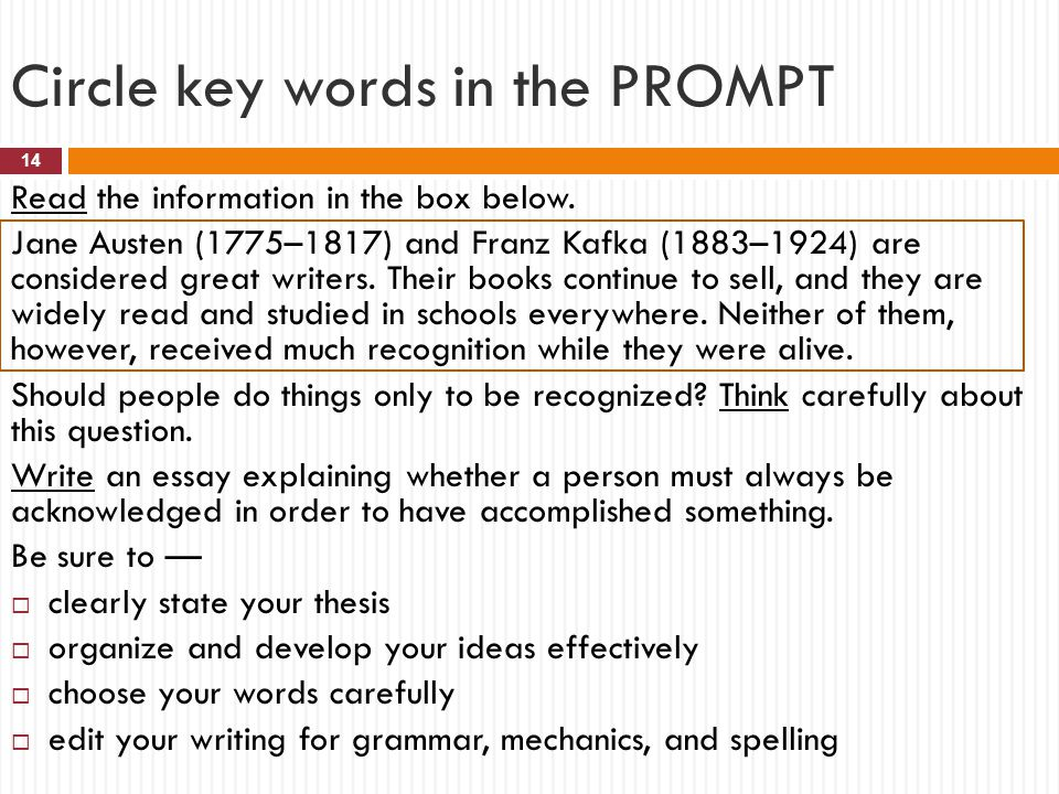 Circle key words in the PROMPT