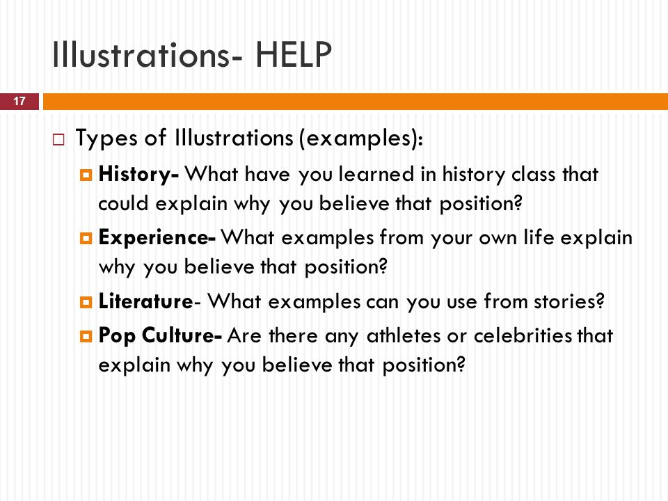 Illustrations- HELP Types of Illustrations (examples):