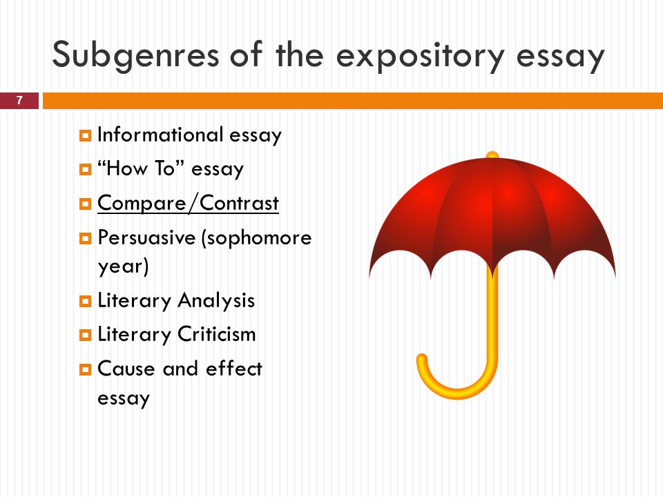 Subgenres of the expository essay