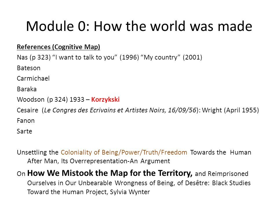 Module 0: How the world was made