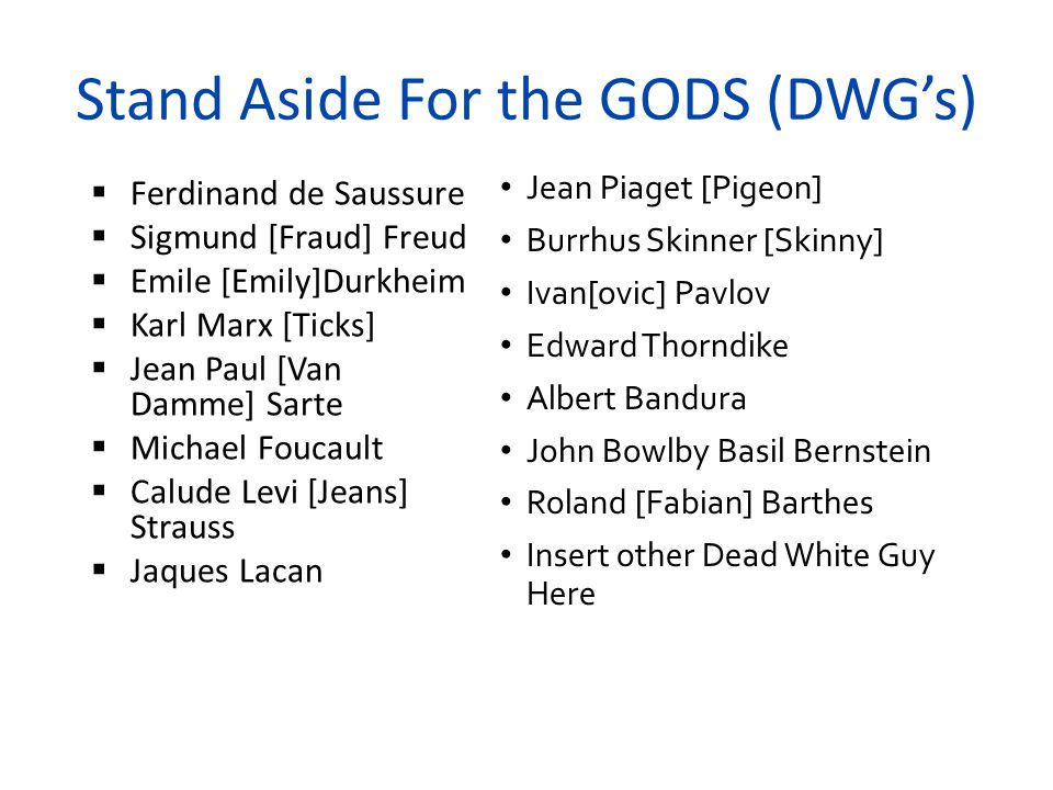 Stand Aside For the GODS (DWG's)
