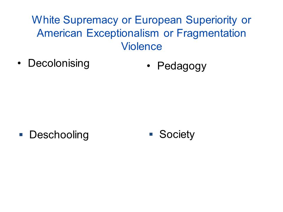 White Supremacy or European Superiority or American Exceptionalism or Fragmentation Violence
