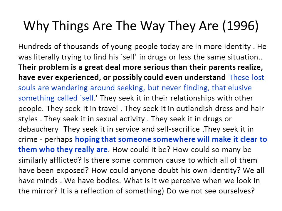Why Things Are The Way They Are (1996)