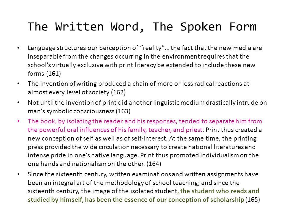 The Written Word, The Spoken Form