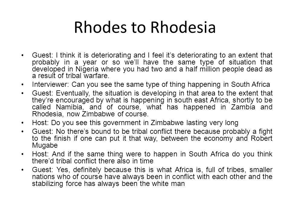 Rhodes to Rhodesia
