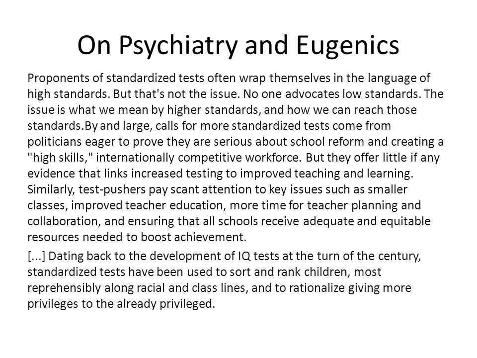 On Psychiatry and Eugenics