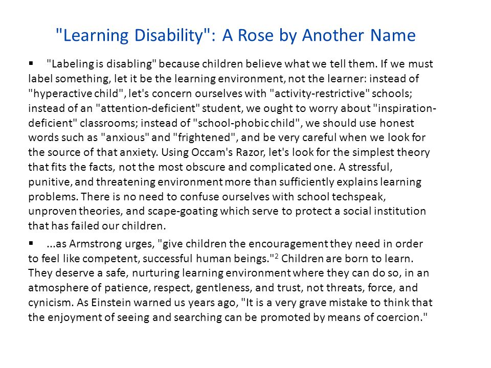 Learning Disability : A Rose by Another Name