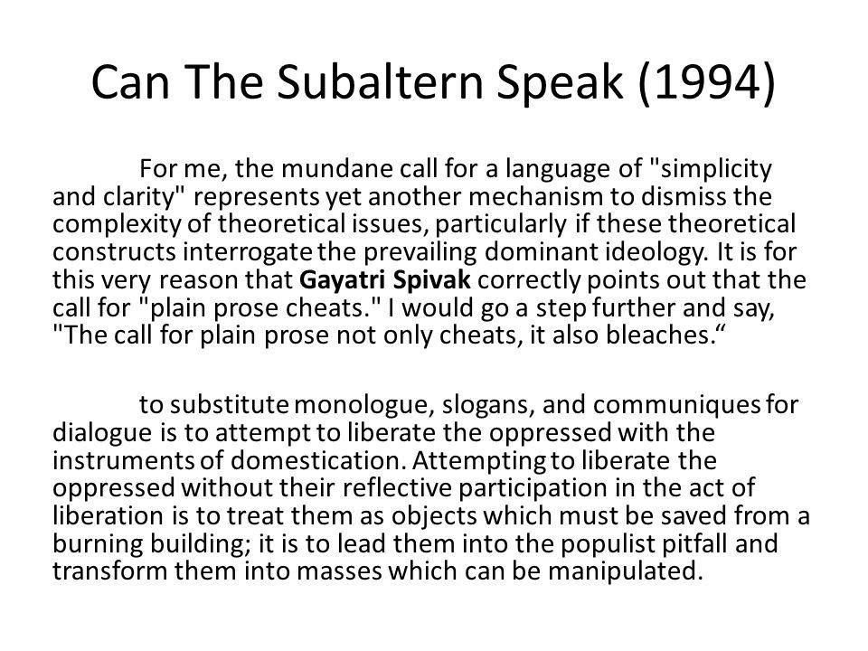 Can The Subaltern Speak (1994)