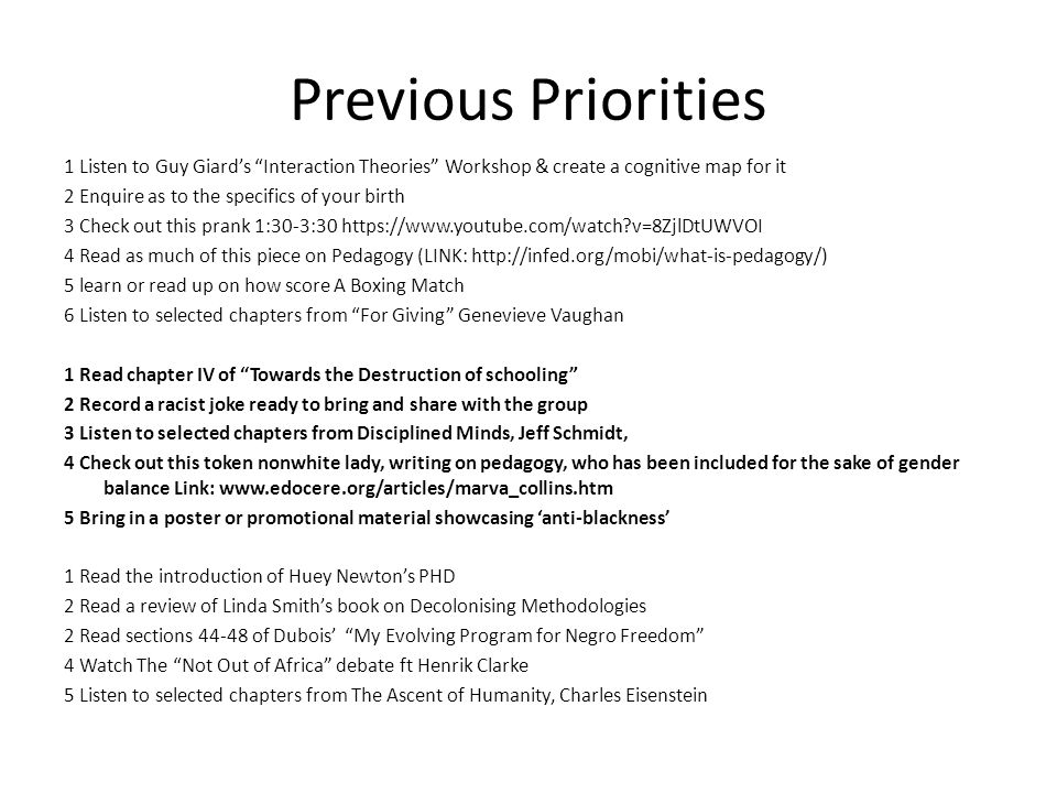 Previous Priorities