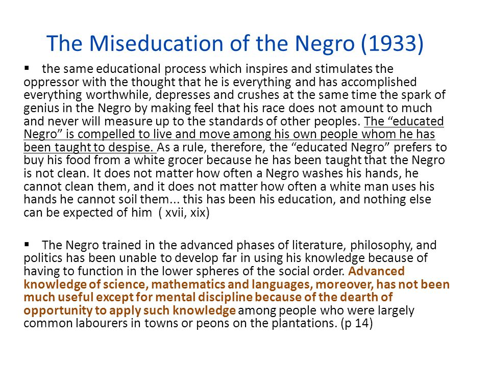 The Miseducation of the Negro (1933)