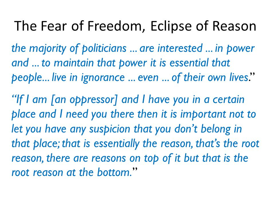 The Fear of Freedom, Eclipse of Reason